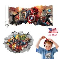Avengers Captain America Iron Man 3D Wall Sticker Kids Bedroom Decoration Gift