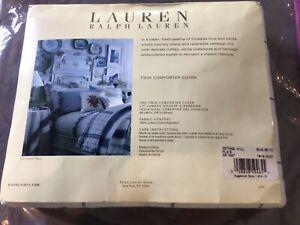 New Lauren Ralph Lauren Blue/ White Twin Cotton Duvet Cover Cottage Hill Plaid