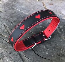 NEW HAND-MADE PRETTY GIRL SOFT LEATHER DOG COLLAR TRAINING STRONG HEARTS MEDIUM
