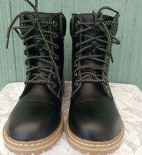 Forever Link Womens Lace Up Black Fashion Work Boots Rubber Threaded Lug Sole
