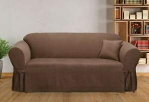 Sure Fit Soft Suede  BOX Cushion - SOFA Slipcover - Chocolate