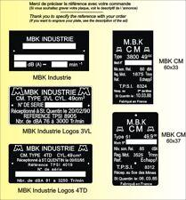 PLAQUES Constructeur Motos MBK - VIN PLATES Motos MBK
