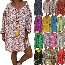 Plus Size Womens Boho Loose Tunic Dress Ladies Summer Beach Baggy Kaftan Dresses