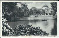 Ansichtskarte Wiesbaden - Kurhaus, Gartenansicht mit Ruderer - schwarz/weiß