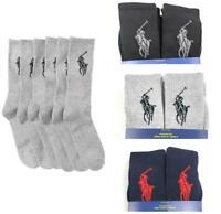 Polo Ralph Lauren Men's Classic Sport Half Cushioned Big Pony Socks 6 Pairs L