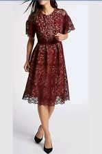 BNWT M&S Collection Burgundy Floral Lace S/Sleeve Skater Midi Dress Size UK 14