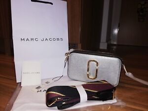 BNWT Marc Jacobs Logo Strap Snapshot Small Camera Silver Cross Body Bag