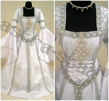 MEDIEVAL WEDDING DRESS S-M 10-12-14 WITCH GOTHIC GAME OF THRONES SNOW ICE QUEEN