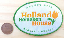 Vtg Heineken Holland House Patch-August 2004-Athens Greece-White Green-Oval-Cool