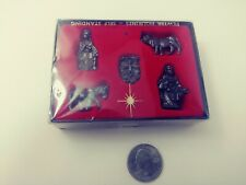 Pewter Figurines Nativity Set Of 5 Cow Jesus Mary