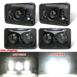 """2021 4pc 4x6"""" inch Led Headlights High Beam + Low Beam for Chevy Ford GMC Trucks"""