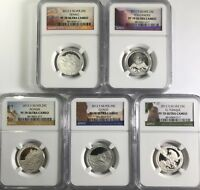 2012 S PROOF SILVER QUARTER SET NGC PF70 ULTRA CAMEO UC ATB NATIONAL