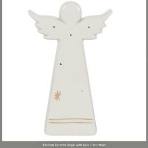 Ceramic Angel With Gold Decoration. Size 15 X 9cm