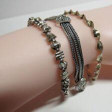 "Vintage 3 Piece Lot 925 Sterling Silver Ornate Chain Link 7"" Bracelets 27 Grams"