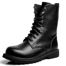 Size 6-13 New Genuine Leather Mens Casual Military Combat High Top Boots Shoes