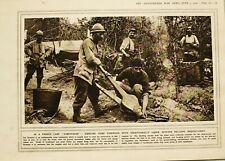 1916 Prima Guerra Mondiale WW1 Stampa Francese Camp Legna Damp Grande da Cucina