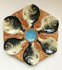 New ListingGreat Vintage Colorful Majolica 6 Well Oyster Plate, Aquamarine Center Well