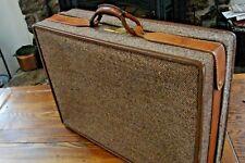 "Vtg Hartmann 25"" Belting Leather Comb Lock Tweed Luggage Tapestry"