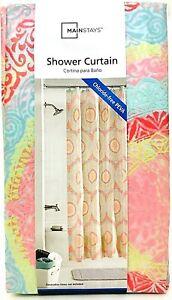 "1 Count Mainstays 70"" X 72"" Coral Capri Shower Curtain Chloride Free PEVA"