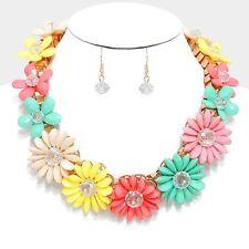 Daisy Floral Flower Glass Bead Cluster Multi Color Bib Necklace Set