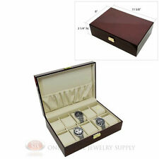 10 Watch Solid Top Rosewood Watch Case with Beige Faux Leather Lining Display