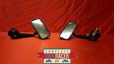 Cafe Racer Negro Rectangular Bar End Espejos giratoria completamente CNC Mecanizado