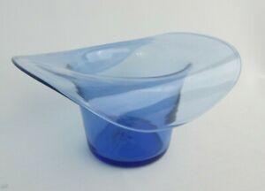 "Vintage Hand Blown Light Blue Glass Hat Vase Pontil Mark 3.5"" x 6.5"" x  4.75"""