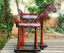 Wood Horse Old Collectible Statue Figurine Unique Hand Painted Home Decor Art