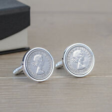 Personalised Silver Finish Lucky Sixpence Cufflinks - Mens Gift In Case