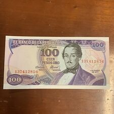 COLOMBIA BANKNOTE - 100 PESOS ORO - 1977 - FREE SHIPPING