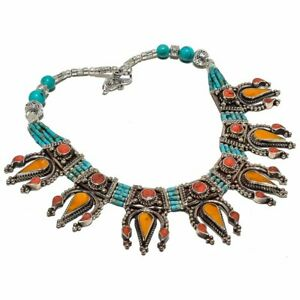 """Tibbatan Yellow Jade, Coral Turquoise Jewelry Necklace 18"""""""