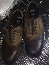 Nunn Bush Mens Oxford Brown Lather and Suede Size 10.5 Dress Shoes Comfort Gel