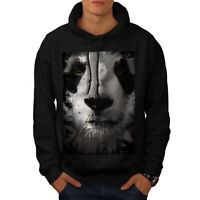 Wellcoda Panda Face Cute Mens Hoodie, Beautiful Casual Hooded Sweatshirt