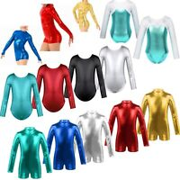 Kids Girls Shiny Gymnastics Long Sleeves Leotards Ballet Dance Train Tank Suit