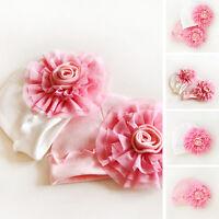 Sale Newborn Baby Girls Infant Big Flower Soft Cotton Hospital Cap Beanie Hat