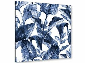 Indigo Navy Blue White Tropical Leaves Canvas Wall Art - 49cm Square - 1s320s