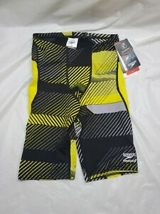 NWT Speedo Male Jammer  The Fast Way Size 28 Yellow Black & Silver