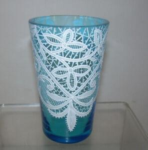 Antique Moser or Murano Enameled WHITE LACE DRINKING GLASS Venetian Bohemian Art
