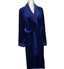 Addition Elle Womens Blue Velvet Floral Robe Matching Belt Tie Pockets Size 2X