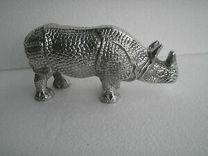 Metal Rhino Rhinoceros Figurine Sculpture Statue au