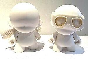 2 x Kid robot Diy Munny White 7'' / 18cm