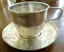 F. Ramirez Mexican Sterling Silver Cup & Saucer with Childrens Animals Engraved