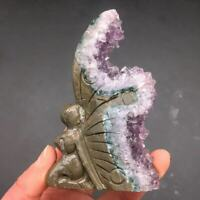 Natural Amethyst Crystal Quartz Cluster Butterfly Girl Healing Decoration 1PC