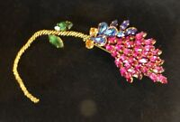 "Vintage AUSTRIA Massive(over 6"") Rhinestone Brooch-Magenta, Peacock, Emerald"