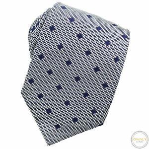 Turnbull & Asser White Blue 100% Silk Houndstooth Diamond Tipped Handmade Tie