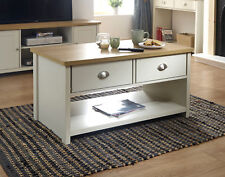 Cream Oak Coffee Table 2 Drawer Occasional Table D Cup Metal Handles Lancaster