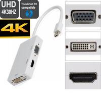 4K 3-in-1 Mini DisplayPort to DP HDMI DVI VGA Adapter Cable For PC Apple Mac Pro