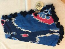 "SPARTINA 449 ""FRESCO SQUARE SCARF""-46"" X 42"" RED, WHITE AND BLUE W/TASSELS - NWT"