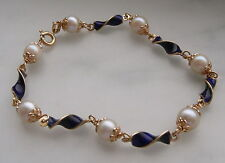 LADIES 18K GOLD BLUE ENAMEL PEARL BRACELET 9.4 GR 7.75 INCHES LONG