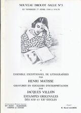DROUOT PARIS Matisse Lithographs Collection Villon Prints Catalog 1984